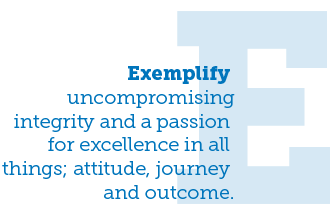 Exemplify Uncompromising integrity and a passion for excellence in all things; attitude, journey and outcome.