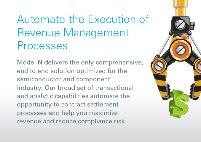 Automate the Execution of Revenue Management Processes Model N delivers the only comprehensive, end to end solution optimized for the semiconductor and component industry. Our broad set of transactional and analytic capabilities automate the opportunity to contract settlement processes and help you maximize revenue and reduce compliance risk.