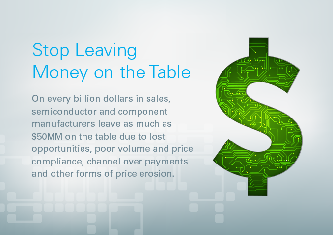 Stop Leaving Money on the Table  On every billion dollars in sales, semiconductor and component manufacturers leave as much as $50MM on the table due to lost opportunities, poor volume and price compliance, channel over payments and other forms of price erosion.