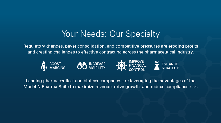 Your Needs: Our Specialty Regulatory changes, payer consolidation, and competitive pressures are eroding profits and creating challenges to effective contracting across the pharmaceutical industry. Boost Margins Increase Visibility Improve Financial Control Enhance Strategy Leading pharmaceutical and biotech companies are leveraging the advantages of the Model N Pharma Suite to maximize revenue, drive growth, and reduce compliance risk.