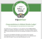 Mokuti Etosha Lodge - Tripadvisor Hall of Fame - Certificate of Excellence